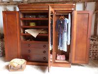 Classic Victorian flame mahogany triple 3 door linen press wardrobe armoire