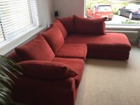 Corner Sofa with matching Pouffe / Footstool in A1 Condition by Collins and Hayes