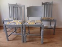 Four Wooden Dining Chairs, Painted Grey Satin Furniture Paint