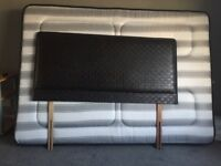 Nearly new dark brown leather style headboard