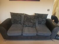 3 and 2 seater sofa with large pouffe