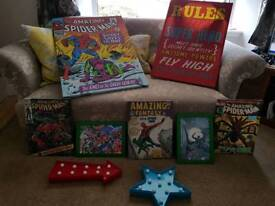 Boys room bundle of superhero pictures and lights