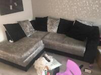 Crush velvet corner couch