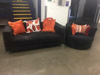 Black 3 Seater Sofa and Matching Swivel Chair - Free Delivery Available!