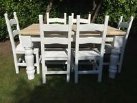 Amazing 5ft Shabby Chic Chunky Farmhouse Pine Table and 6 Lovely Chairs