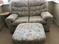 2 SEATER G PLAN SETTEE WITH MATCHING POUFFE