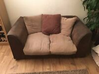 2 Seater sofa - beige over chocolate - can deliver too