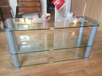 TV STAND - GLASS SHELVES WITH CHROME LEGS