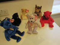 ty Beanie Bears x 6 collection