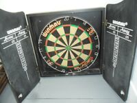 WINMAU DART BOARD with Cabinet and chalk scoring doors - in Very Good condition - BN3