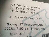 2 tickets for Kaiser Chiefs Plymouth pavilions