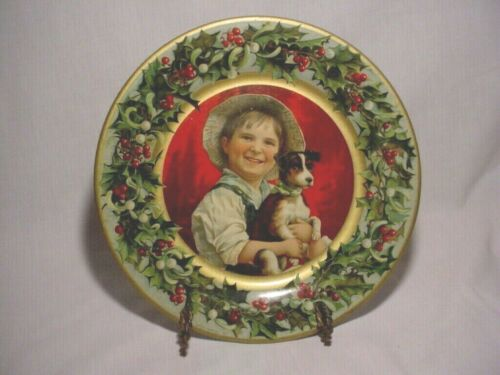 Theo Gier Wine Co. Tin Litho Christmas Advertising Tray Boy with Dog