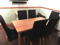 6 SEATER DINING ROOM TABLE CHAIRS SOLID WOOD