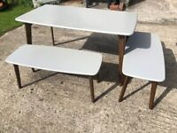 Made dot com Fjord Dining table and bench set - Grey and Dark Oak