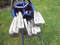 A Set of GOLFCRAFT. (SCOTLAND ) Golf Club's. 9 IRONS-wood-putter & Stand bag.