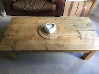 Chunky rustic solid wood large coffee table handmade