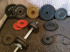 @METAL DUMBBELL AND BUNDLE OF ASSORTED METAL WEIGHTS@