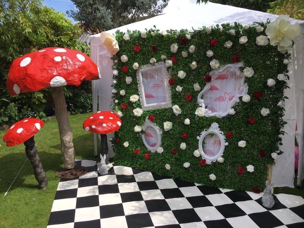 Flower Wall Photo Backdrop Alice In Wonderland Decoration Mad