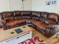 Large 6 Seat Brown Leather Reclining Corner Sofa for Sale