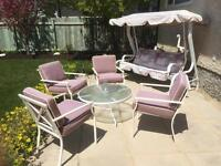 Patio table set and swing