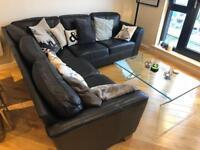 Large M&S leather corner sofa