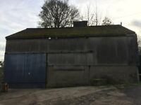 Large barn (13.6m x 8.8m) Wrotham with mezzanine and 40' & 20' containers inside - secure yard