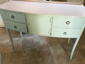 Table with four drawers . Hand painted in mint green and mocha shade on the top.