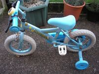 """Children's Bike - 12"""" wheels, for age 3-5yrs, with detachable stabilisers. Comes with a free Scooter"""