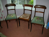 THREE ANTIQUE WOODEN CHAIRS