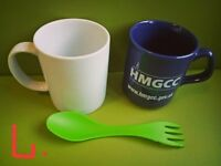 2 Mugs with a plastic spoon and folk 2-1_50p for ALL