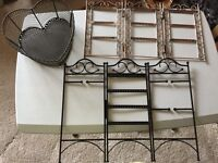 Two Jewellery Display Stands and One Heart Shaped Metal Basket