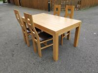 Light Oak Veneer Dining Table 160cm & 4 High Back Solid Oak Chairs FREE DELIVERY 8844