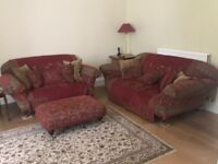 3 seater and 2 seater Muktiyork sofa with throws and footstool