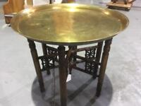 Gorgeous Round Etched Brass Tray Table with folding stand
