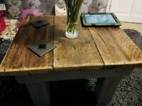 Chunky coffee table (rustic, industrial)