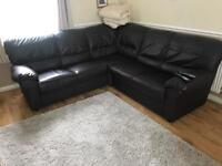 Dark brown corner sofa