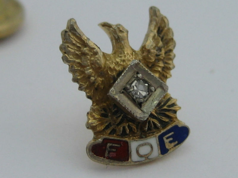 Vintage Fraternal Order of Eagles FOE Gilt Sterling Silver Authentic Diamond Pin