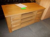 Brand new schreiber solid oak tv unit with 4 draws