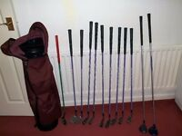ladies golf club regal irons3-9 s/w p/w putter plus 2 woods v.g.c. +stand bag £70 collect only