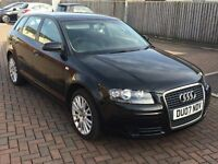 Audi A3 Sportback 07 reg 2.0 TDI SE (140 BHP), Black, Excellent Condition inc Audi Fitted Sat Nav