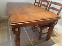 Large Pine Farmhouse Table and Six Chairs