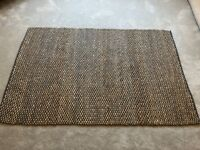 Woven Ratten Style Rug in Natural and Blue