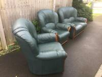 GREEN LEATHER SOFA AND 2 ARMCHAIRS. CAN DELIVER