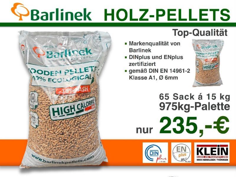 holz pellets sackware barlinek f r th ringen pro 975kg palette in th ringen eisenach ebay. Black Bedroom Furniture Sets. Home Design Ideas