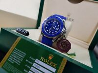 New boxed with papers blue rubber bracelet Blue dial with markers Rolex Yachtmaster oysterflex watch