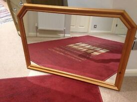 LARGE PINE MIRROR 40 INCHES BY 30 INCHES 1 METRE BY .75 METRE
