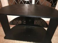 TV Stand. Black with glass middle shelf