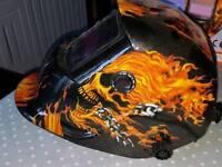 Welding auto-datkening Helmet fire and skull design