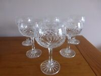 6 HANDCUT CRYSTAL CHAMPAGNE GLASSES