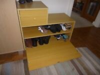 Shoe storage cabinet with drawer unit. One fixed shelf. Stores at least 8 pairs of shoes.